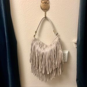Beige Faux Leather Fringe Purse